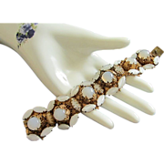 Incredible and Very Old French Opaque White Rhinestone Bracelet