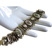 Victorian Revival Rhinestone and Faux Pearl Bracelet
