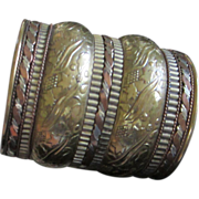 SALE Wide Brass and Copper Cuff Bracelet with Floral Motif