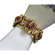 Fabulous Vintage Confetti Lucite and Jonquil Rhinestone Bracelet
