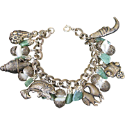SALE Vintage Jade and Brass Oriental Charm Bracelet
