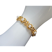 Lovely Trifari Bright Gold Tone and Faux Pearl Bracelet