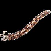 SALE Weiss Light and Dark Topaz Rhinestone Bracelet