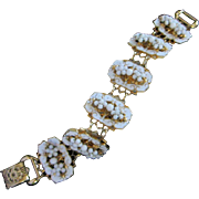 Vintage Gold Tone, White Enamel and Milk Glass Bracelet