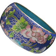 Incredible Wide Width Cobalt Blue Cloisonne Bangle Bracelet