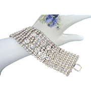 REDUCED Old Hollywood Style Wide and Glamorous 10 Row Clear Rhinestone Bracelet, Bridal Jewelr