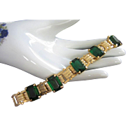 SALE LEDO Emerald Green and Gold Tone Bracelet