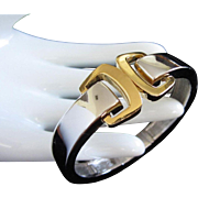 Trifari Mixed Metal Buckle Design Clamper Bracelet