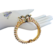 SALE Fabulous Enamel Peacock Clamper Bracelet with Faux Pearls and Rhinestones