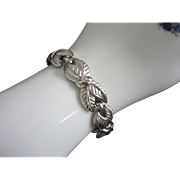 SALE Vintage Trifari Silver Tone Leaf Leaves Bracelet