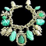 SALE Oriental Themed Brass Charm Bracelet with Faux Jade Buddha, Art Glass