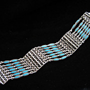 REDUCED Vintage Faux Turquoise and Silver Tone Southwestern Style Bracelet