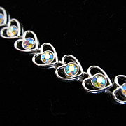 REDUCED Vintage Heart Shaped Bracelet with AB Rhinestones ~ 1/2 OFF!