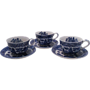 Old Japanese Blue Willow Cups and Saucers, Set of 3