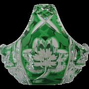 Celtic Crystal Shamrock and Celtic Cased Green Crystal Basket, Handcut Crystal