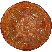 SALE Swedish Marigold Hued Carnival Glass Bowl, Eda Glassworks