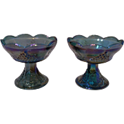 SALE Indiana Glass Iridescent Blue Carnival Glass Candlesticks