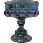 SOLD Indiana Glass Blue Carnival Glass Compote