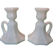 SALE Pair of Milk Glass Octagon-Shaped Candlesticks