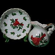 SALE Lefton Christmas Cardinal Holiday Petite Pitcher & Basin Set