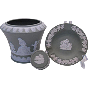 Wedgwood Trio of Vase, Ashtray and Lidded Box in Sage
