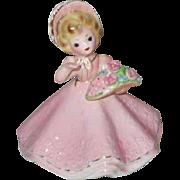 Josef Original Pink Garbed Little Flower Girl Figurine
