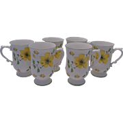 SALE Set of 6 Bone China Pedestal Mugs with Bright Yellow Flowers, Wade of England