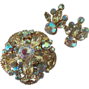 Radiant Vintage Jonquil and AB Rhinestone Brooch Pin and Earrings Demi Parure