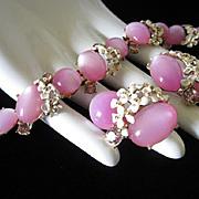 SALE Lilac Moonglow Lucite Bracelet and Earrings Set, Enamel Flowers and Rhinestones
