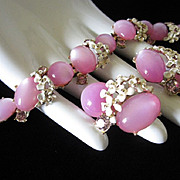 REDUCED Lilac Moonglow Lucite Bracelet and Earrings Set, Enamel Flowers and Rhinestones ~ ...