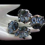 SALE Juliana Hues of Blue Rhinestone Clamper Bracelet and Earrings Set, Demi Parure