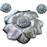 REDUCED 1/2 OFF!!! ~ Ciner Silver Tone Flower Brooch and Earrings Set ~ REDUCED!