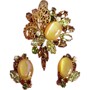 REDUCED Stunning Hobe Demi Parure of Rhinestone Brooch, Earrings
