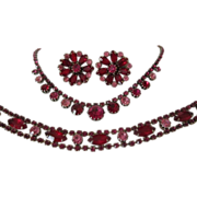 Fuchsia, Rose & Ruby Red Rhinestone Parure ( Necklace, Bracelet and Earrings)