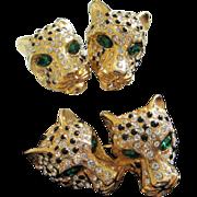 Clear Rhinestone & Black Enamel Leopard Pin, Earrings Set