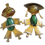 REDUCED Vintage Asian, Oriental Boy, Girl Figural Pins ~ REDUCED!