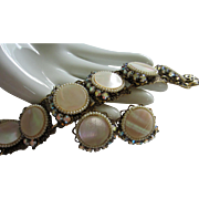 Mother of Pearl, AB Rhinestone and Faux Pearl Set, Bracelet and Earrings