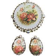West Germany Floral Motif and Rhinestone Brooch and Earrings Set