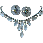 Juliana Frosted Denim Blue Navettes, AB and Light Sapphire Rhinestones Necklace and Earrings S
