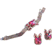 Divine Heliotrope Rivoli and AB Rhinestone Bracelet, Earrings Set