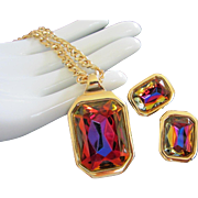 REDUCED Kenneth J Lane, KJL Flashing Prisms of Color Necklace, Earrings Set ~ REDUCED!