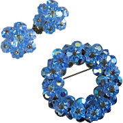 Blue Marguerite and AB Crystals Pin and Earrings Set