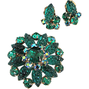 SALE Radiant Emerald Green Lava Rock Glass and Rhinestone Pin, Earrings Set