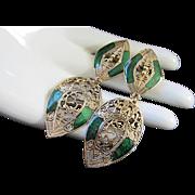 Scrolling Gold Tone Filigree and Emerald Green Enamel Earrings, Pierced