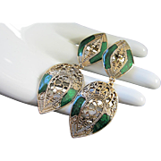 Scrolling Gold Tone Filigree and Emerald Green Enamel Earrings, Pierced