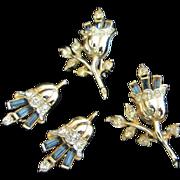 SALE Corocraft Rhinestone Flower Scatter Pins and Earrings Set