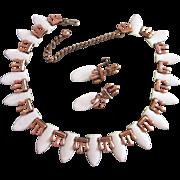 SALE Renoir Matisse White Enamel Over Copper Necklace, Earrings Set