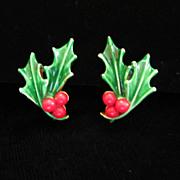 SALE Vintage ART Enamel Holiday Holly Earrings