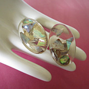 Vintage Abalone Confetti Lucite Earrings