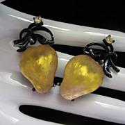 Beautiful Golden Strawberries Forbidden Fruit Earrings